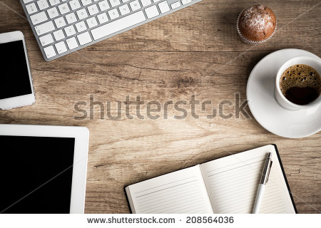 stock-photo-wooden-table-with-office-supplies-top-view-208564036