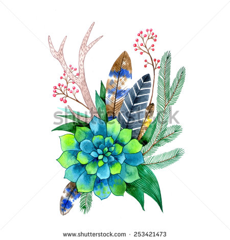 stock-photo-boho-wedding-watercolor-decoration-raster-illustration-253421473