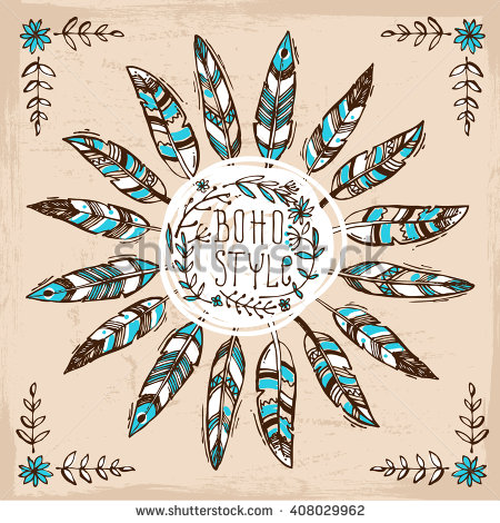 stock-vector-set-of-boho-style-hand-drawn-elements-boho-vector-illustration-tribal-elements-for-polygraphy-of-408029962
